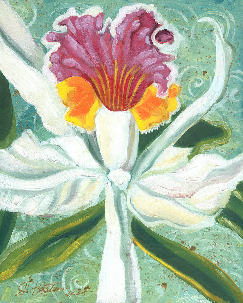 Oil painting White Orchid by John Keaton