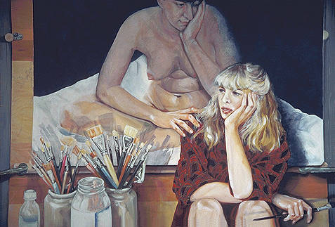 "Oil painting ""What is Art?"", Self Portrait by Judith  Elsasser"