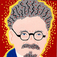 Acrylic painting Leon Trotsky (AKA Emmanuel Goldstein) by Phil Cummings