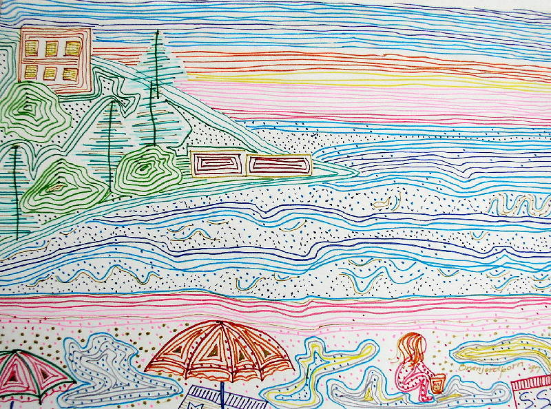 Drawing Caloundra by the Sea © 2 by Gwenda Branjerdporn