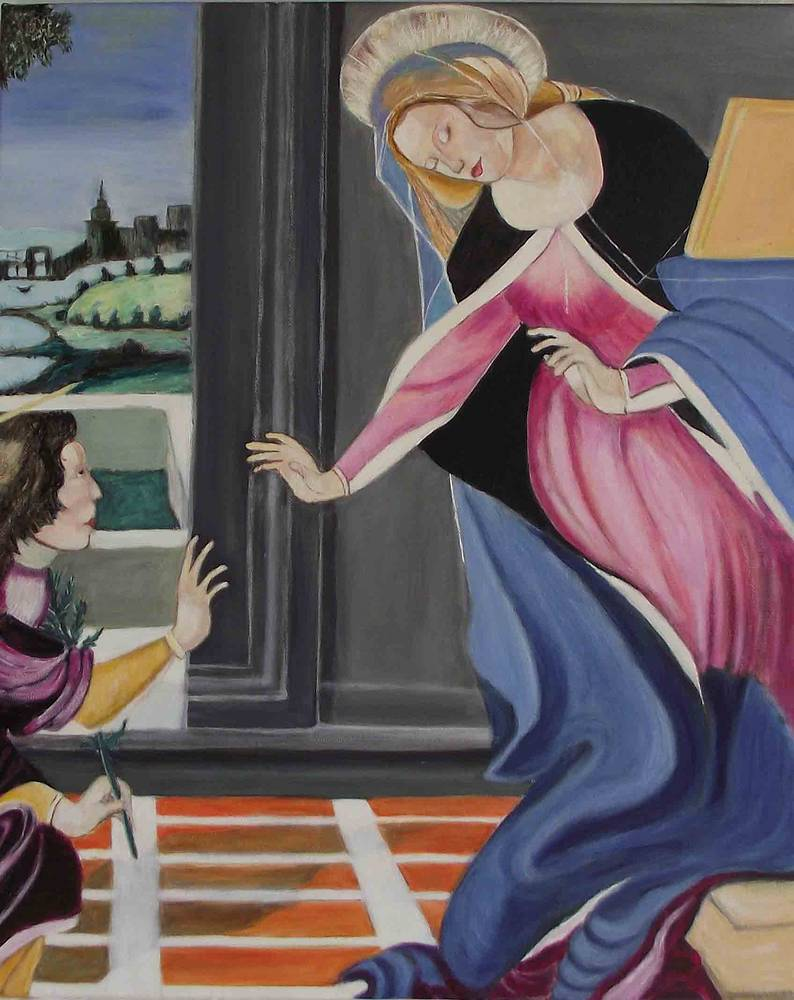 Acrylic painting Annunciation © 2010 by Gwenda Branjerdporn