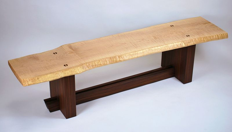Oil painting Curly Maple- Rosewood Bench  by Enrique Morales