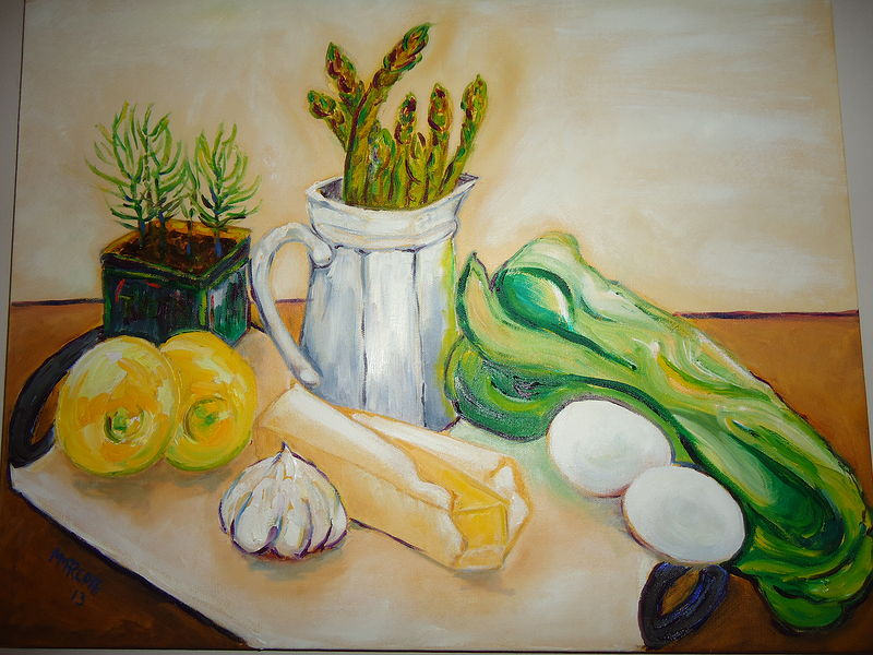 Oil painting Asparagus with Hollandaise by Michelle Marcotte