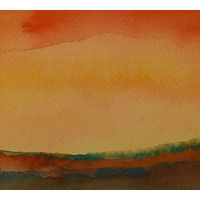 "Watercolor Sunset #12  4"" x 10"" by Lisa Tomczeszyn"