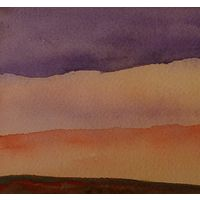 "Watercolor New Mexico sunset 4"" x 10""  by Lisa Tomczeszyn"