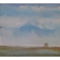 "Watercolor Cape Cod Sky and land #4  4"" x 10"" by Lisa Tomczeszyn"