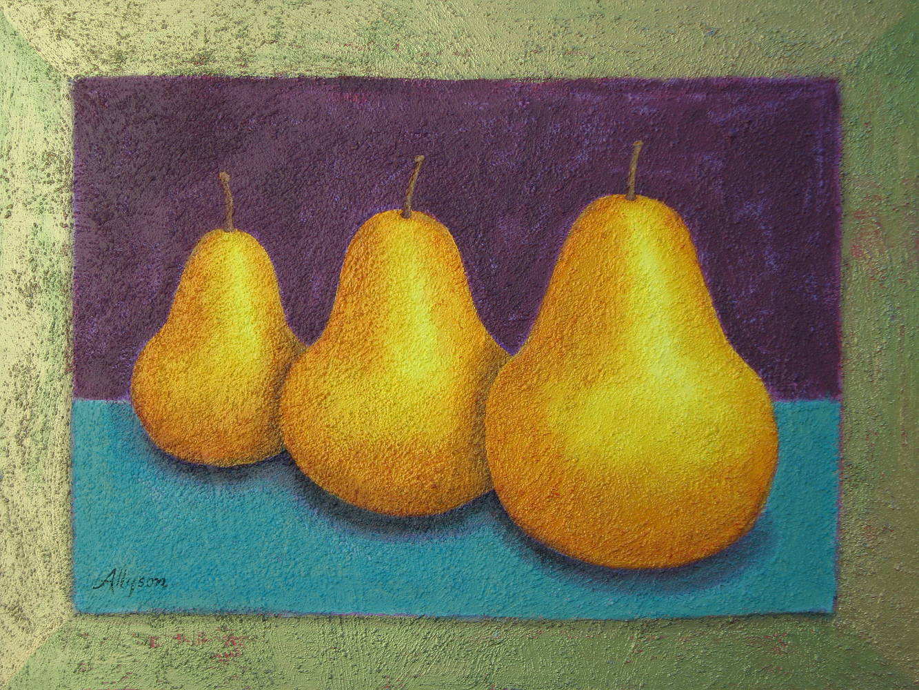 Acrylic painting Three Big Pears by Allyson Malek