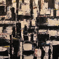 Acrylic painting Composition in Black and White #1 by David Tycho
