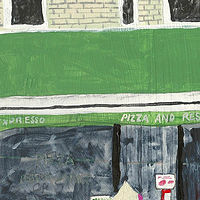 Acrylic painting pizza on the corner by anthony Ziegler