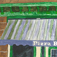 Acrylic painting pizza bistro 1 by anthony Ziegler