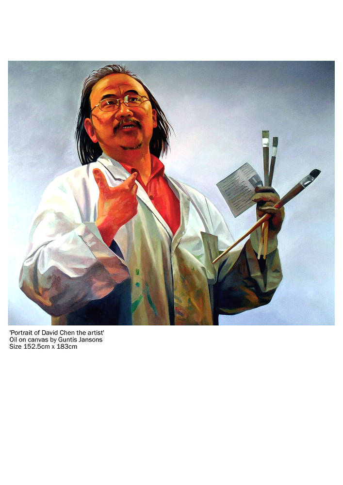 Oil painting David Chen portrait by Guntis Jansons