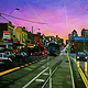 Oil painting Bridge Road Sunset  by Guntis Jansons