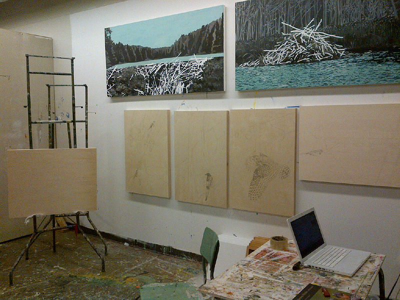 birch panel drawings in progress by Belinda Harrow