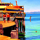 Oil painting Jumping from the jetty  by Jodi Jansons