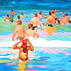 Oil painting Beach Figures  by Guntis Jansons