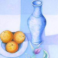 Oil painting Still Life with The Blue Tablecloth, © 2001 by Gwenda Branjerdporn