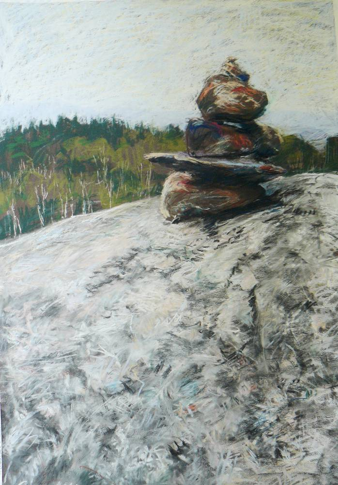 Cairn on  Nun da ga o Ridge 18x 26 Michael Gaudreau by Michael  Gaudreau