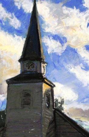 keene valley church 11x14 pastel by Michael  Gaudreau