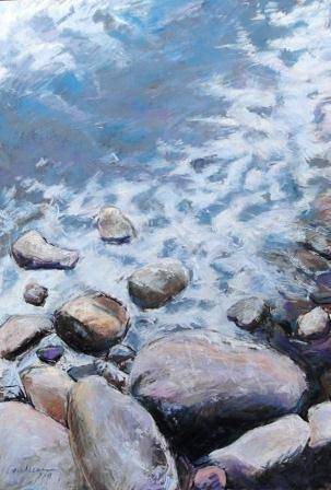 rocks on chapel pond 16x20 mat 28x40 by Michael Gaudreau