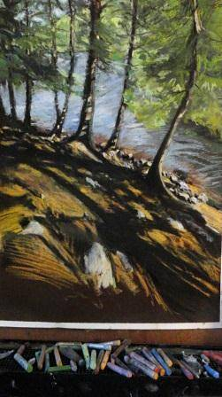 Painting chapel pond 18x24in pastel by Michael  Gaudreau