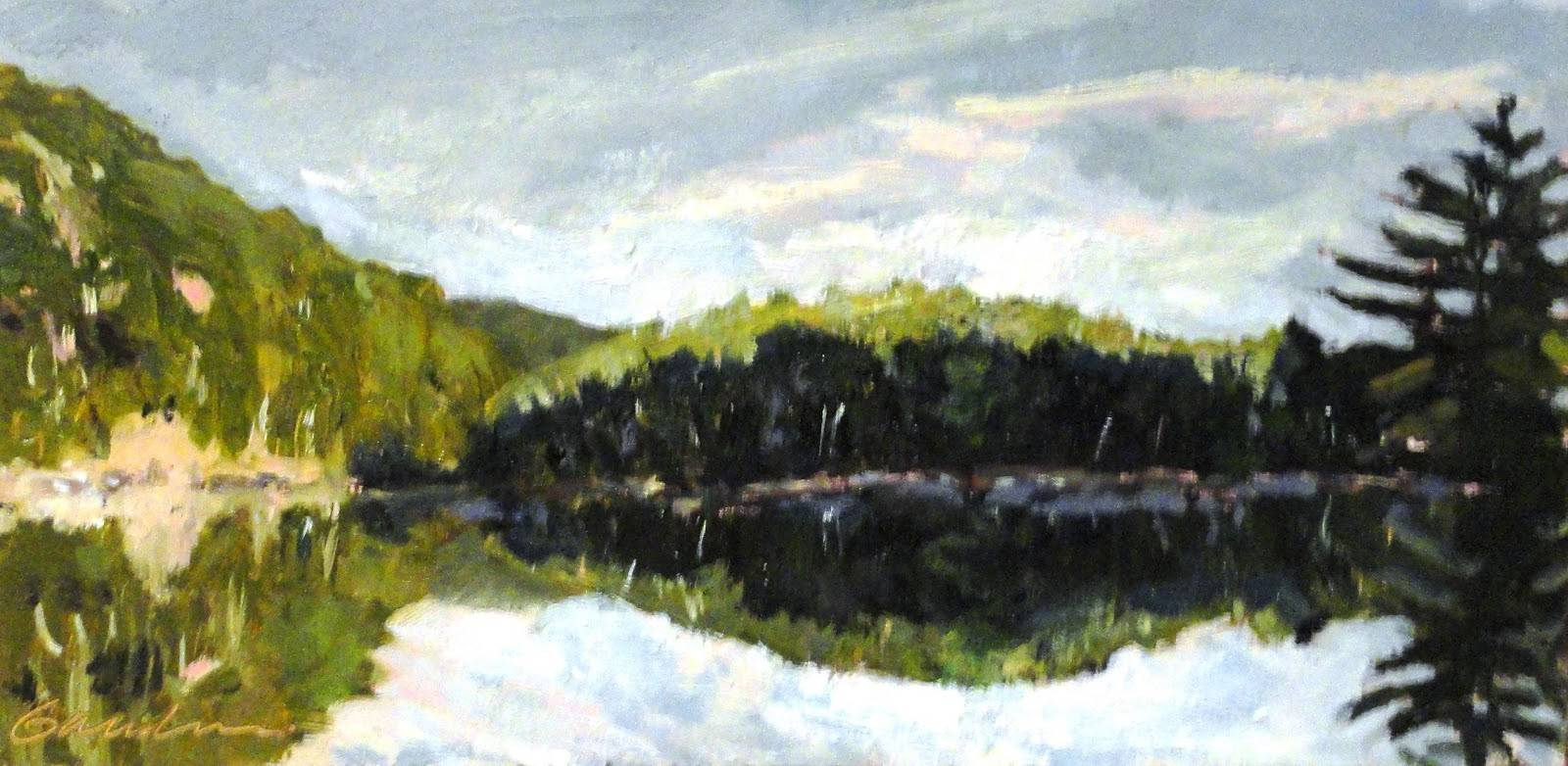 Chapel Pond ,Morning 6x12oil by Michael  Gaudreau