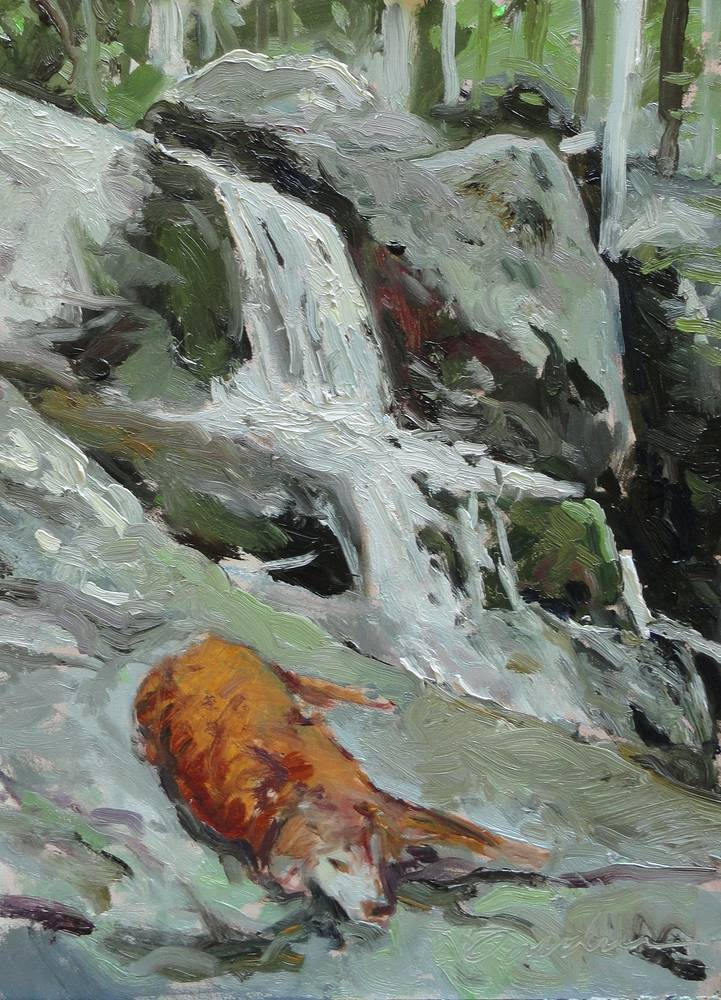 Painting Maggie at the Falls 9x12in by Michael  Gaudreau