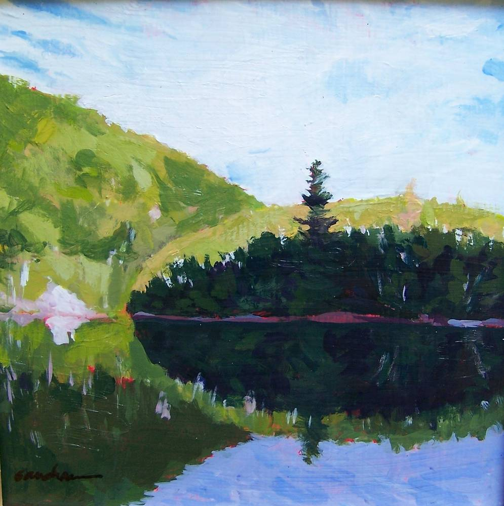 Chapel pond Dawn 9x9in by Michael  Gaudreau