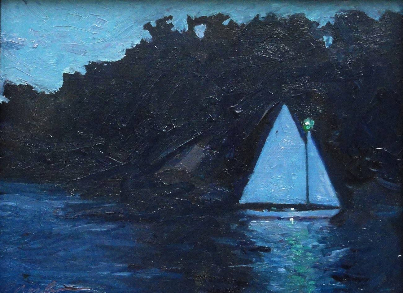 Night Sail 9x12 in oil by Michael  Gaudreau