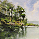 Brewers Pond  12x24in oil by Michael  Gaudreau