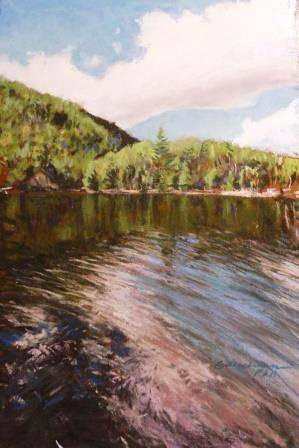 Painting Chapel Pond Afternoon 11x14 pastel by Michael  Gaudreau