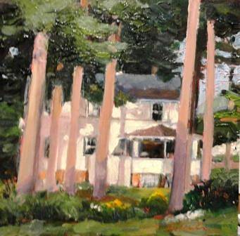 Painting Summerhouse II 8x8in oil by Michael  Gaudreau