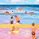 Oil painting Day at the beach by Jodi Jansons