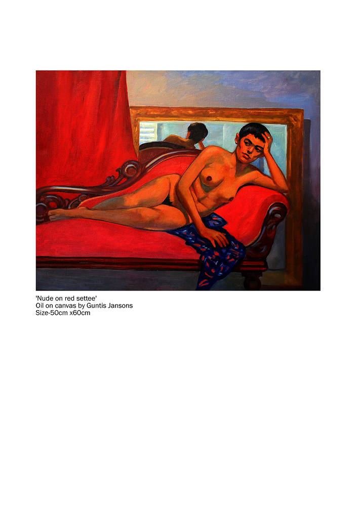 Oil painting Nude on red settee  by Guntis Jansons