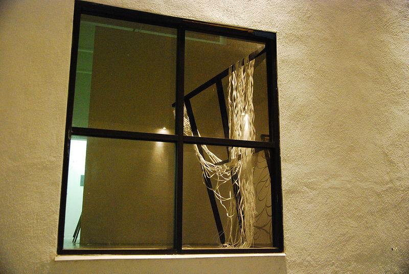Painting tilted window outside view by Jacqueline Bell Johnson