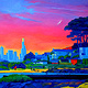 Oil painting Brighton Park Sunset  by Jodi Jansons