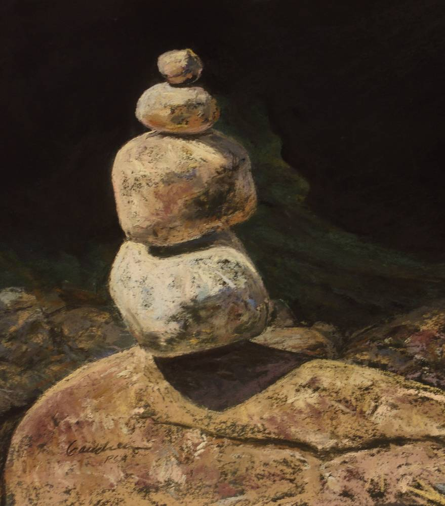 Little Cairn on the Boquet-9x9in pastel by Michael Gaudreau