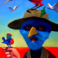 Oil painting Outback Birdman by Guntis Jansons
