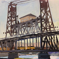Oil painting Evening Steel Bridge by Shawn Demarest