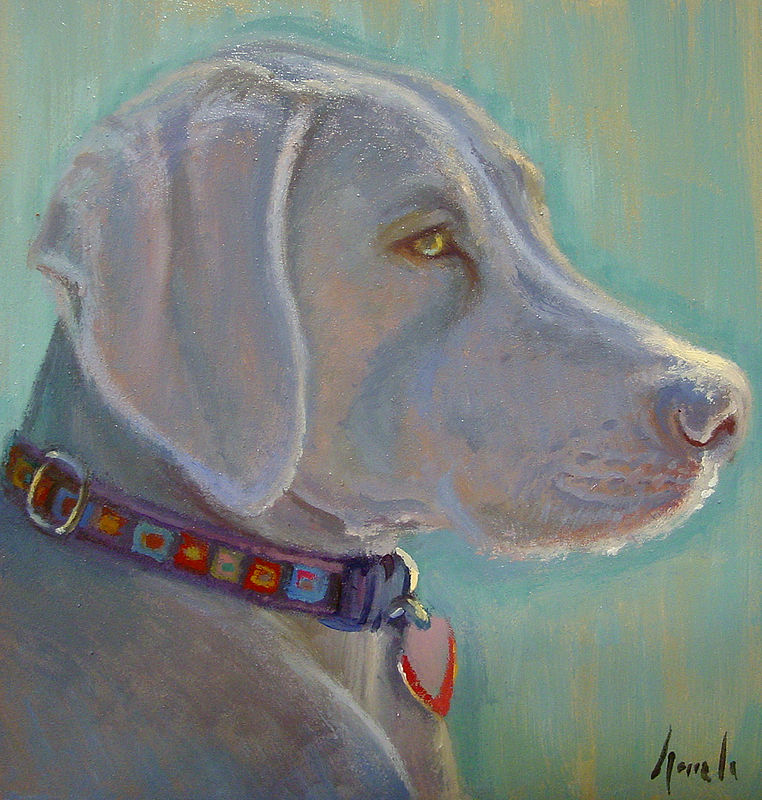 Oil painting weimaraner by Noah Verrier