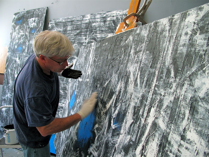 New 2013 series. Covering white under layer with another black layer. by John Turner