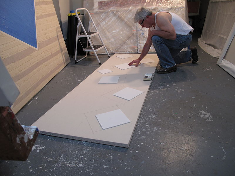New 2013 series. Working out templates and placement for squares on: 34 inch x 96 inch canvas.  by John Turner