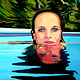 Oil painting Girl in pool  by Guntis Jansons