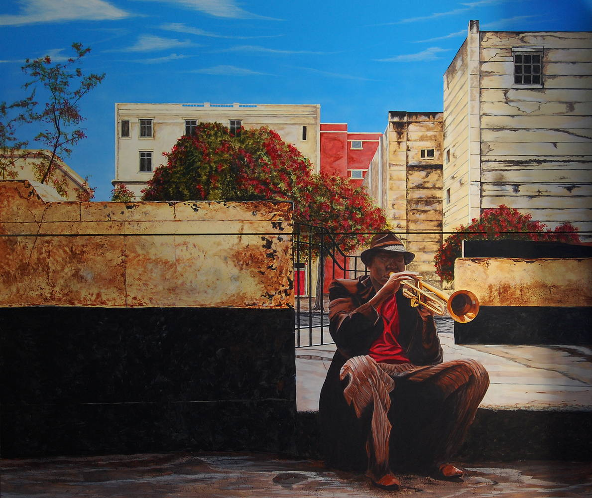 Acrylic painting Havana Street Music by David B. Scott