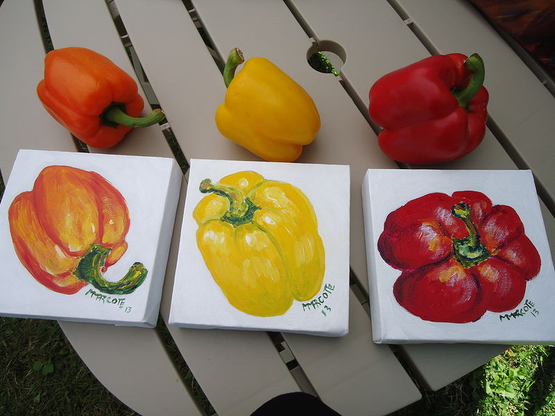 Acrylic painting Three little colored peppers by Michelle Marcotte