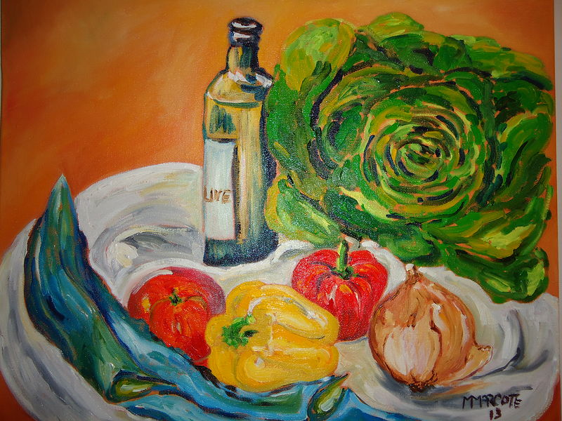 Oil painting Butter Lettuce Salad by Michelle Marcotte