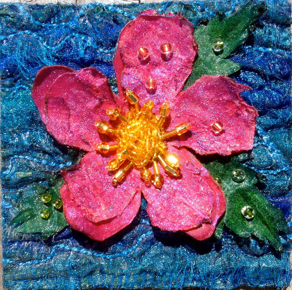 Painting Alberta Wild Rose 2013 by Angela Dale