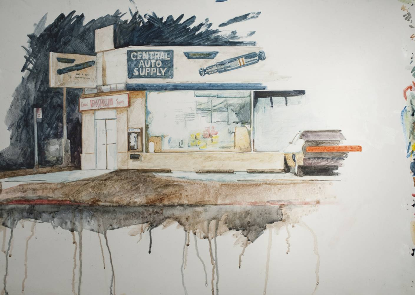 Watercolor Central Auto at Night by Paul Sershon