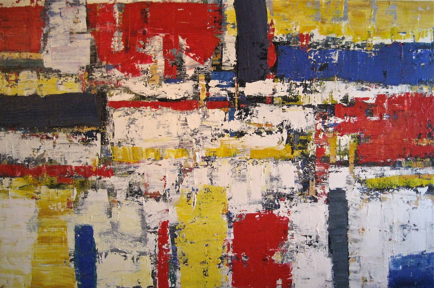 Acrylic painting Composition with Red, Yellow and Blue  by David Tycho