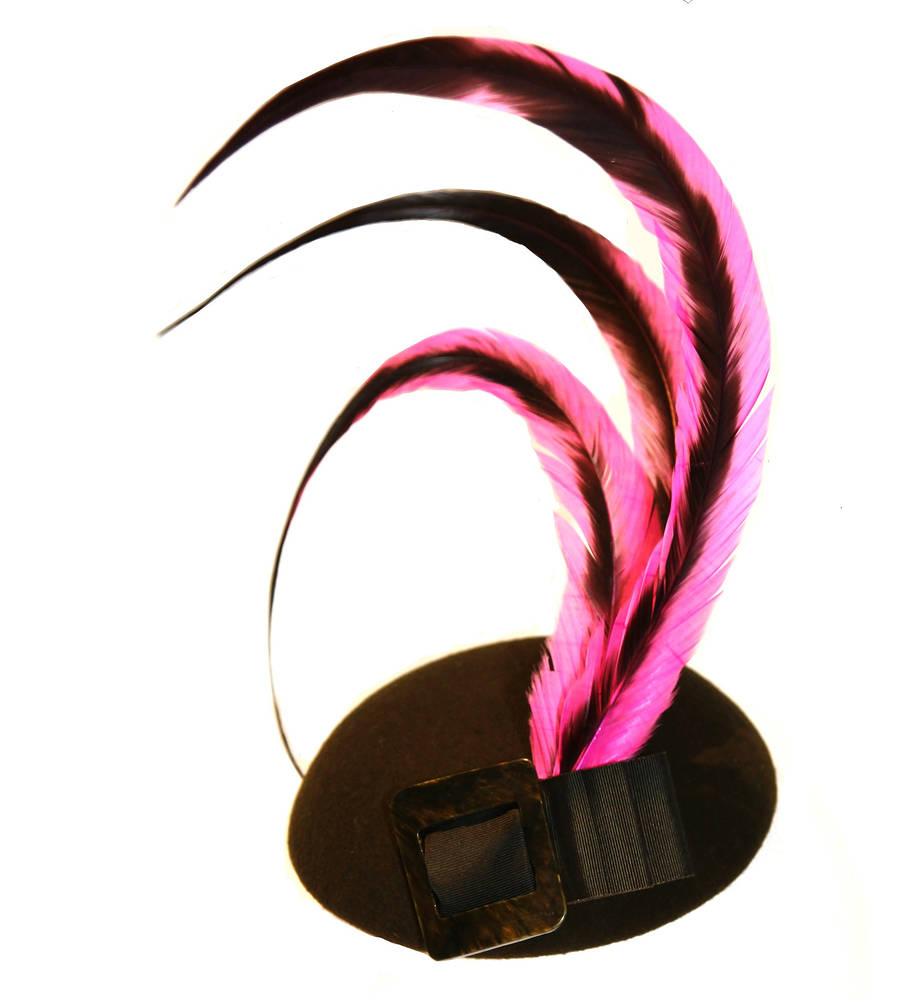 Hot pink feathered cocktail hat 2 by Fiona Menzies