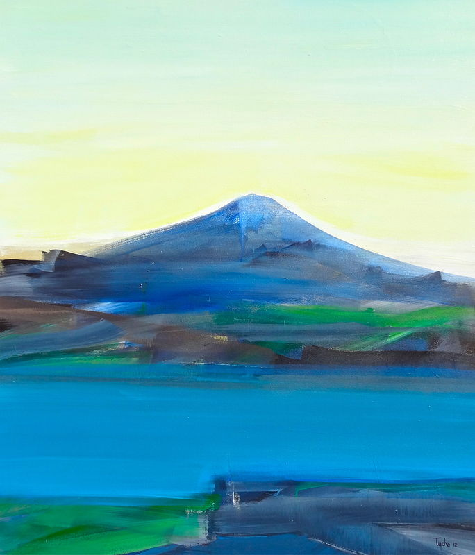 Acrylic painting Blue Fuji #1 by David Tycho